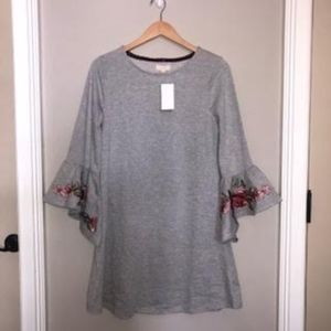 Gray Knit Dress w/ Floral Embroidered Bell Sleeves
